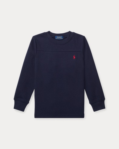 Rundhals-T-Shirt mit Waffelstrick
