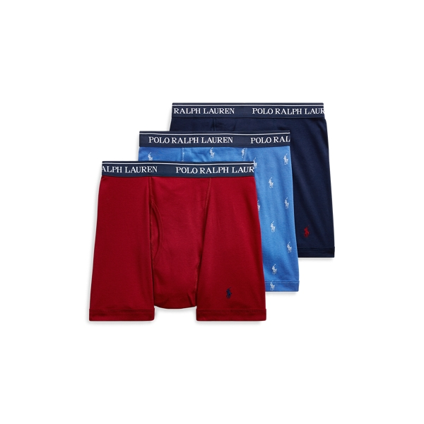 Ralph Lauren Cotton Boxer Brief 3-Pack Sky/Red Sienna/ Navy Xl