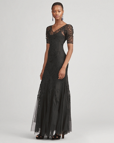 Ale Embroidered Tulle Dress