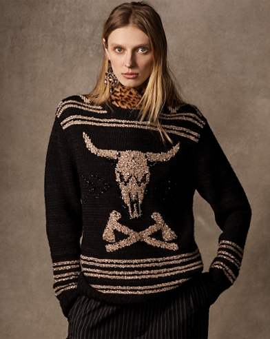 Embroidered Steer-Head Sweater