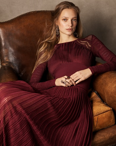 Pointelle Lace Pleated Dress