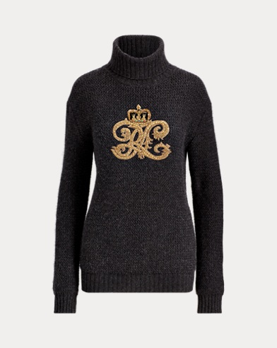 Embroidered Crest Turtleneck