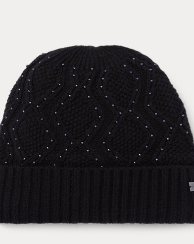 Cable-Knit Beaded Hat
