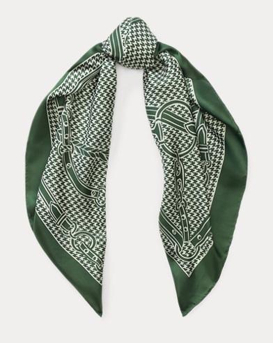 Foulard motif équestre en soie