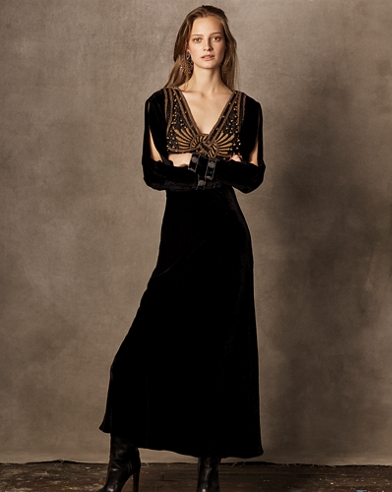 Gail Beaded Evening Dress