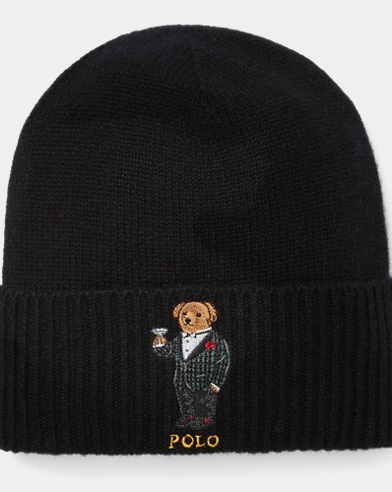 Cashmere-Wool Polo Bear Hat