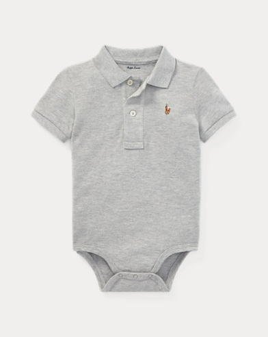 Cotton Mesh Polo Bodysuit
