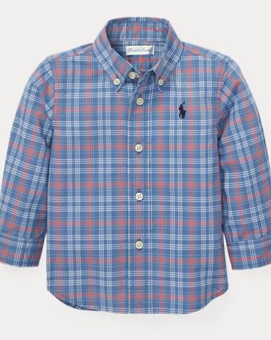 Camisa a cuadros de popelina de algodón