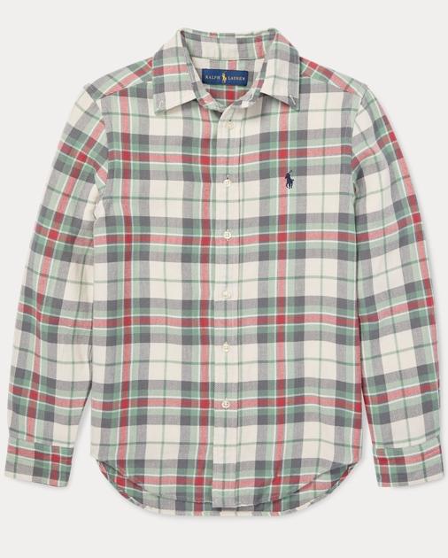 217357d39 BOYS 6-14 YEARS Plaid Cotton Twill Shirt 1