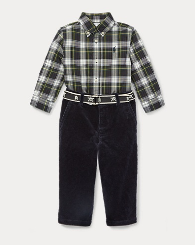 Plaid Shirt & Belted Pant Set