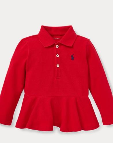 Peplum Piqué Polo Shirt