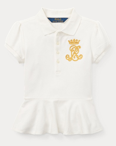 Stretch Mesh Peplum Polo Shirt