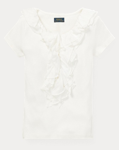 Ruffled Chiffon Cotton T-Shirt