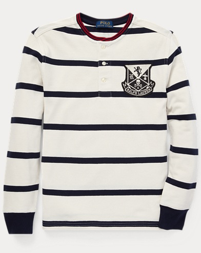 Striped Cotton Mesh Henley