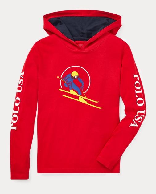 d5430defe7f55 Boys 8-20 Downhill Skier Hooded T-Shirt 1