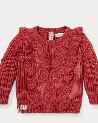 Ruffled Aran-Knit Jumper