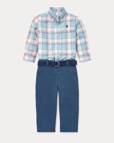 Cotton Shirt & Belt & Chino Set