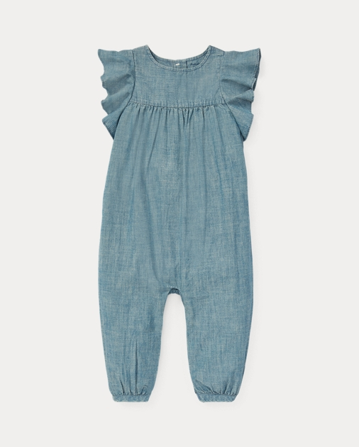 7a9c780e2170 Baby Girl Ruffled Chambray Romper 1