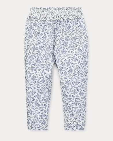 Floral Smocked Cotton Trouser