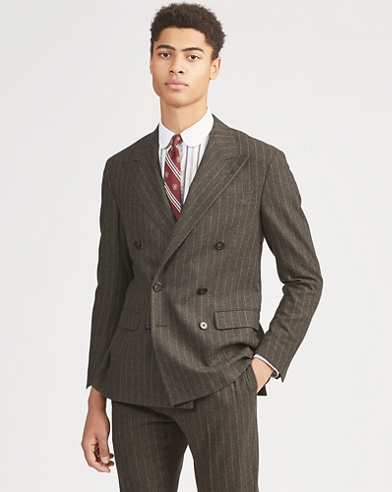 Polo Striped Wool Suit Jacket