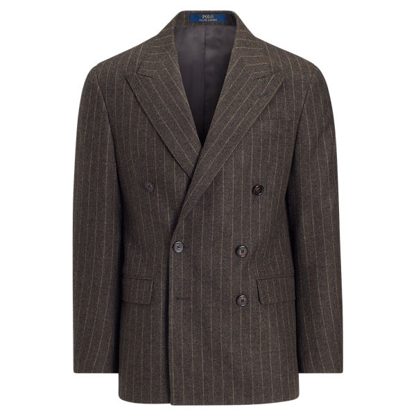 1940s Men's Suit History and Styling Tips Polo Striped Wool Suit Jacket �695.00 AT vintagedancer.com