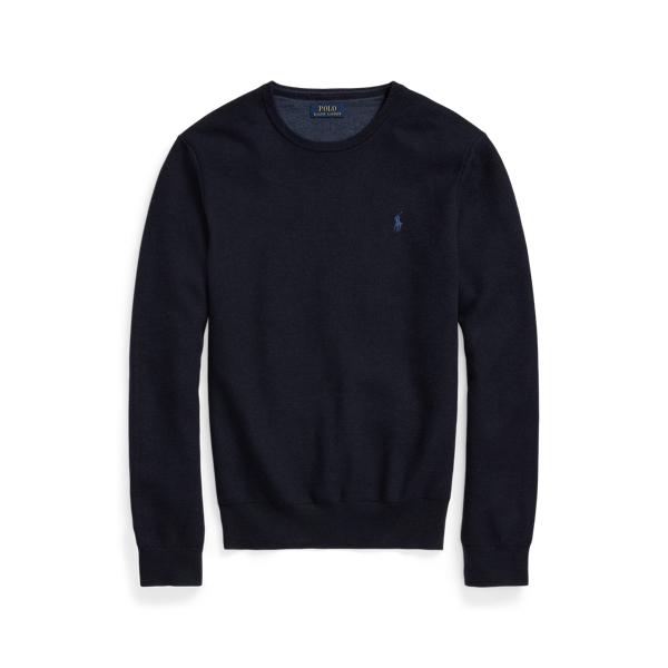 폴로 랄프로렌 맨 매쉬 니트 코튼 스웨터 Polo Ralph Lauren Mesh Knit Cotton Crewneck Sweater,Navy Heather