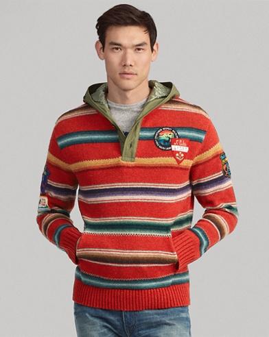 Sudadera tipo sarape con capucha de lana