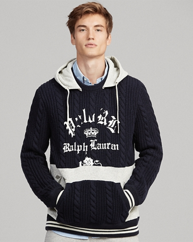 Fleece-Panel Hooded Sweater