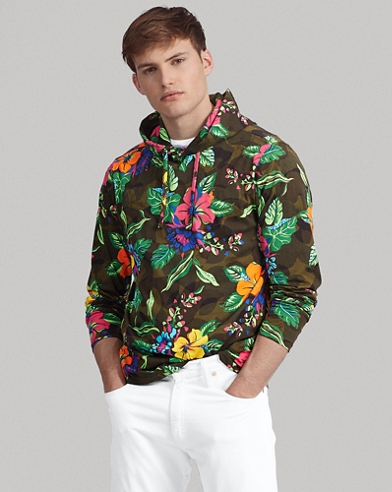Floral-Camo Cotton Hooded Tee
