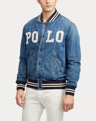 31a2d8c152f589 Varsity-Inspired Denim Jacket. 20% Off Selected Colours