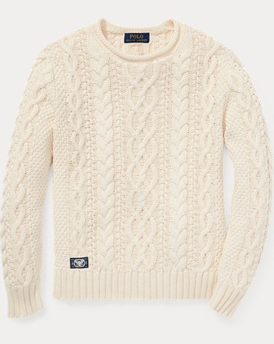 Aran-Knit Rollneck Sweater