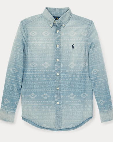 Camicia in chambray con motivo sud-occidentale