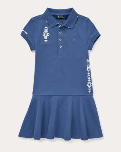 Embroidered Mesh Polo Dress