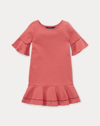 Ponté-Kleid mit eingesetzter Spitze