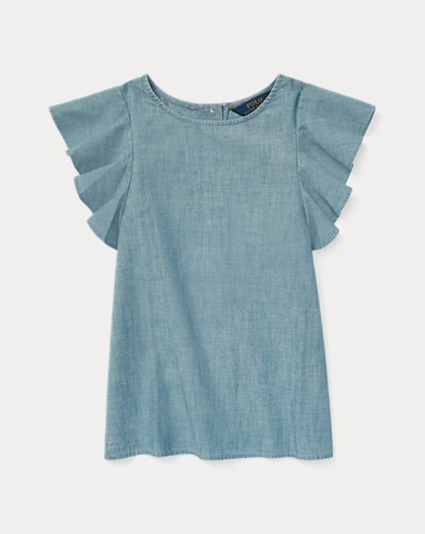Chambray Flutter-Sleeve Top