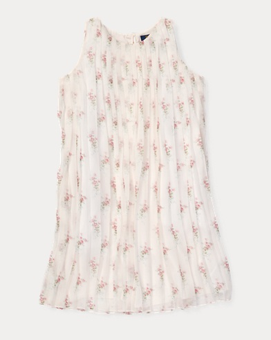 Pleated Floral Crepe Dress