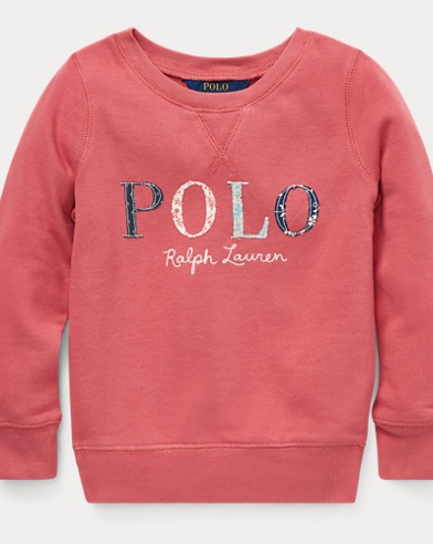 Sweat Polo fleuri en coton éponge