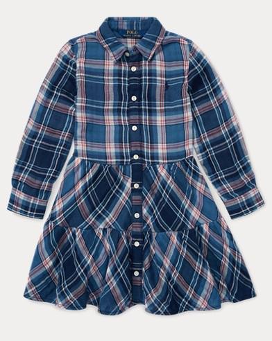 Tiered Plaid Cotton Shirtdress