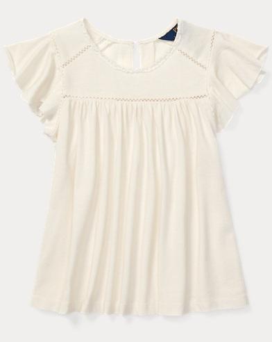 Inset-Lace Cotton-Blend Top