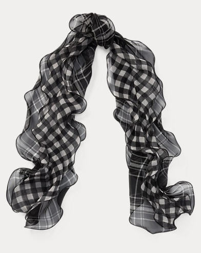 Plaid Silk Chiffon Scarf