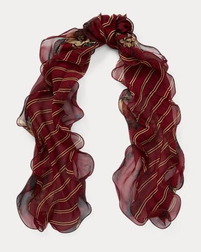 Stripe Silk Chiffon Scarf