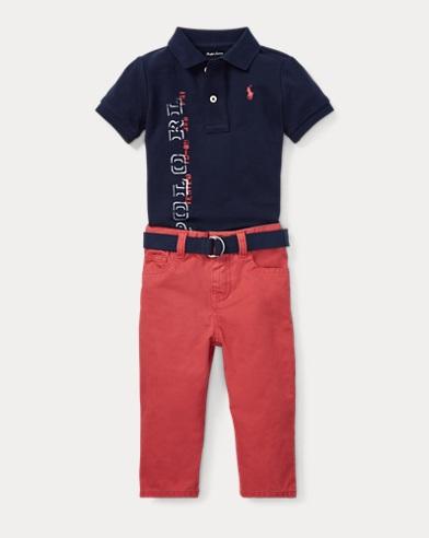 Mesh Polo, Belt & Jean Set
