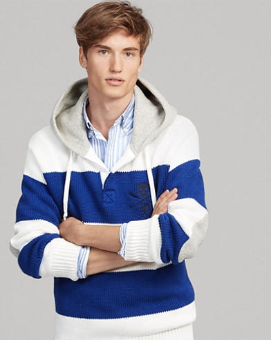 Cotton Hooded Rugby Sweater