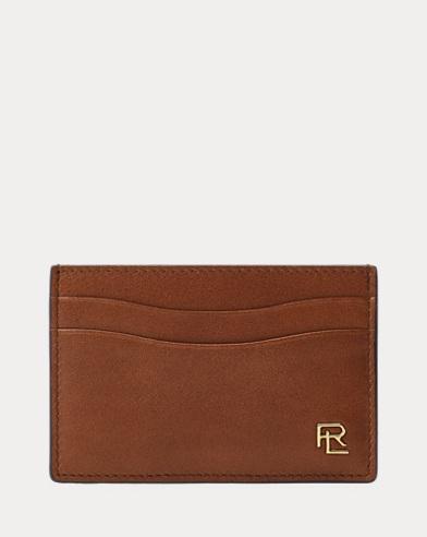 Metal-Plaque Leather Card Case