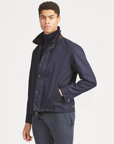 Corduroy-Collar Twill Jacket