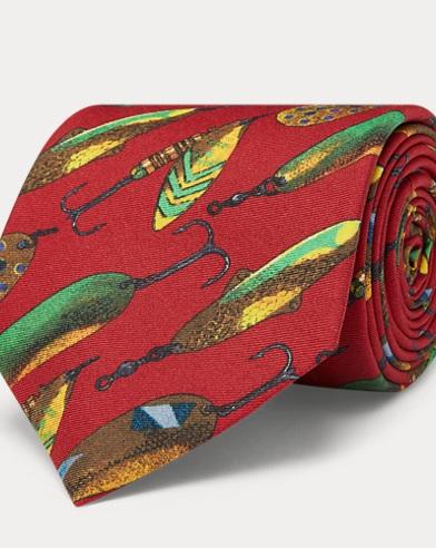 Fly Fish-Print Silk Tie