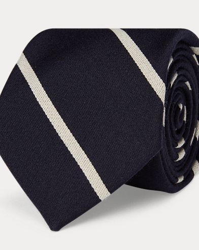Striped Wool-Silk Narrow Tie