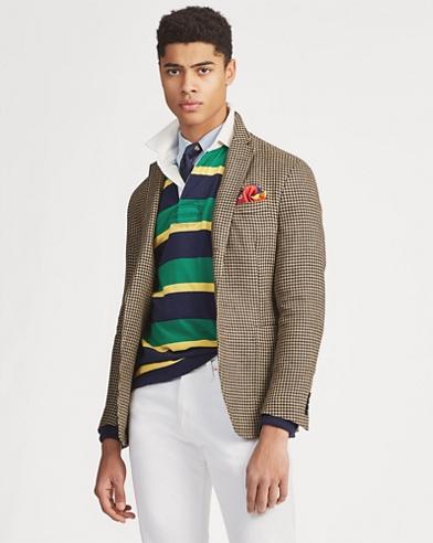 Houndstooth Linen Suit Jacket