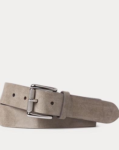 Roller-Buckle Suede Belt