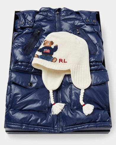 Down Coat & Polo Bear Hat Set